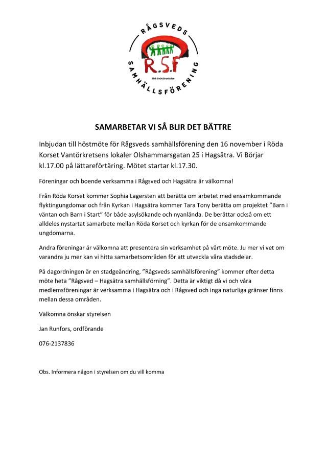 Inbjudan höstmöte Rågsveds samhällsförening